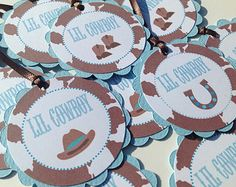 12 - Favor Tags Lil Cowboy Baby Shower Collection- Baby Blue & Brown Cow Print - Party Pack Available