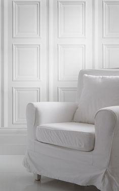 mineheart / White Panelling Wallpaper