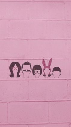 Bob's Burgers iPhone wallpaper. (Left to right) Linda, Bob, Tina, Louise, and Gene Belcher.
