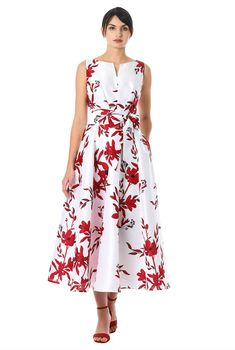 A split neck tops our floral print polydupioni dress designed with an angled pleat bodice and sash tied waist atop a full flared skirt. Plus Size Maxi Dresses, Cute Dresses, Casual Dresses, Frock Fashion, Fashion Dresses, Women's Fashion, Color Combinations For Clothes, Beautiful Summer Dresses, Chiffon