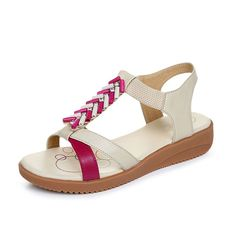 Women sandals/Flat low heel sandals/Beef skid at the end of large size sandals -- Click image for more details. (This is an affiliate link and I receive a commission for the sales)