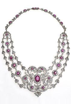 Diamond & Ruby Necklace-c1880