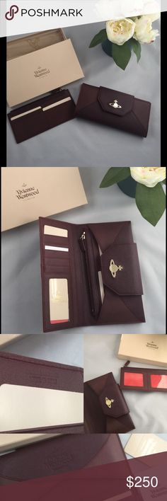 Rare Vivienne Westwood Wallet Very rare & brand new AW15 Vivienne Westwood Saffiano Leather Wallet in Bordeaux color (like burgundy color) gold-tone hardware. Retails for £310. very awesome Wallet not sure if I wanna let this go.  - 12 credit card slots  - 1 interior removable zipped pocket for coins - 3 ID windows Vivienne Westwood Bags Wallets