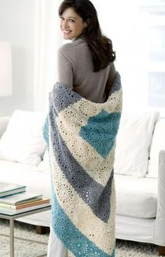 Square Upon Square Throw Free Crochet Pattern from Red Heart Yarns