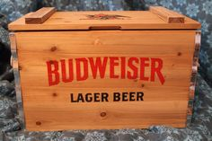 Authentic Budweiser Lager Beer wooden crate with a metal interior. Brand new.