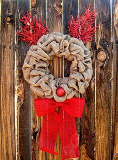 Rudolph Christmas wreath made with burlap