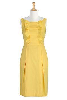 Pleat front woven dress