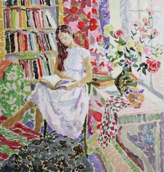 """books0977:  Autumn Afternoon, The Corner of the Studio (2012).Hugo Grenville (United Kingdom, 1958-). """"There is nothing new in posing a mod..."""
