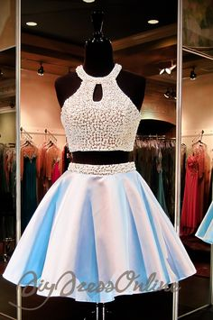 New Arrival Two Piece Light Blue Homecoming Dress,Beaded Bodice Open Back Satin Short Prom Dress APD1590 - Thumbnail 1