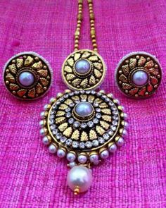Colourful Antique Golden Flower Pearl Polki Indian Ethnic Pendant Set J77 | eBay