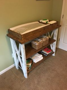 Items similar to Handmade customized baby changing table on Etsy – Newborn Diaper Change Rustic Changing Tables, Baby Changing Station, Baby Changing Tables, Changing Mat, Baby Nursery Diy, Baby Room Decor, Diy Baby, Nursery Ideas, Baby Bassinet
