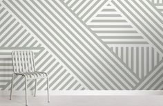 Style a fun geometric design that's subtle in tone in any room with this sage green striped wallpaper, a modern mural. Geometric Wallpaper Murals, World Map Wallpaper, Green Striped Wallpaper, Living Room Themes, Bedroom Wall Designs, Design Moderne, Wall Patterns, Designer Wallpaper, Pattern Wallpaper