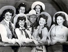Roy Rogers and a group of Las Vegascowgirls