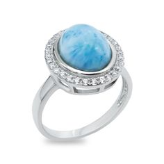 Blue Larimar Halo Set Oval Cabachon Cut Sterling Silver Ring - 1.5 Carats, 28 CZ…