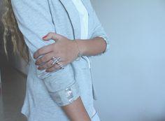 Blazer with diy cuff embellishment.