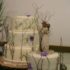Willow Tree wedding cake - I love the cake topper because it is an actual Willow Tree figurine. My friend bought me a Willow Tree angle when mom passed away.