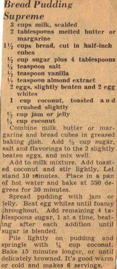 Recipe Clipping For Bread Pudding Supreme