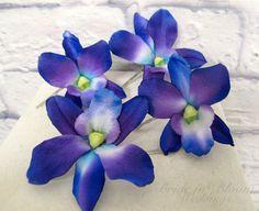 Wedding hair accessories Blue purple by BrideinBloomWeddings