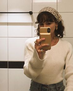 Scarf Hairstyles, Hairstyles With Bangs, Pretty Hairstyles, Hair Inspo, Hair Inspiration, Fashion Inspiration, Silk Hair, Aesthetic Hair, Beige Aesthetic
