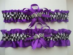 Purple Satin Wedding Garter Set with Checkered Flag by StarBridal, $29.95