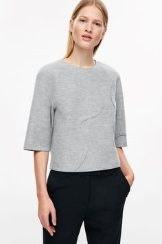COS image 2 of Boxy raw-cut top in Grey