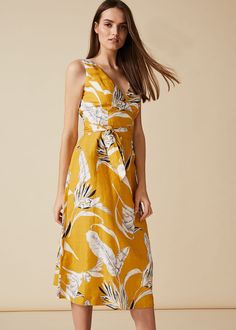 Womens Phase Eight Yellow Shaniya Printed Linen Dress - White Phase 8 Dresses, Dress Shapes, Phase Eight, Printed Linen, Lovely Dresses, Wrap Dress, Autumn Fashion, Summer Dresses, Clothes For Women