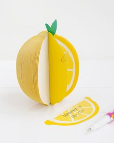 This Lemon Adhesive Note is perfect for keeping on your desk for little scribbles & reminders