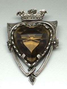 Celtic:  Rare Vintage #Scottish Miracle Shield Brooch ~ heart-shaped stone exclusive range.