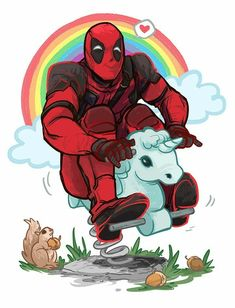 The best thing about Deadpool is that anything and everything is pretty much canon Maximum effort! Deadpool Y Spiderman, Deadpool Unicorn, Deadpool Fan Art, Deadpool Funny, Deadpool Quotes, Deadpool Tattoo, Deadpool Costume, Deadpool Movie, Deadpool Painting