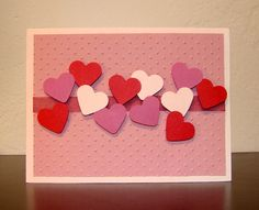 Simple and cute DIY Valentine's Card - wondering what to do with all those extra little heart punches!