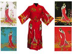 93cb3a0db4 Printed Kimono Robe Ankle Length  35 Pearl River