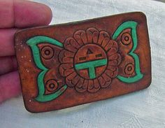 Vintage Hippy  Teal Butterfly Flower Leather Belt Buckle on Etsy, $5.95
