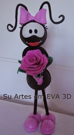 su artes em eva: Que fofo meu Smilinguido. Disney Frozen, Ants, Diy And Crafts, Minnie Mouse, Polymer Clay, Valentines, Christmas Ornaments, Holiday Decor, Rose