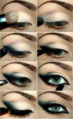 smokey black, blue eyeshadow