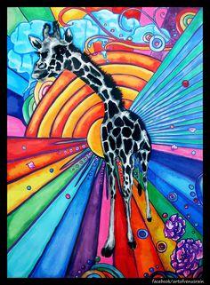 Happy Giraffe: Acrylic on Masonite Board.