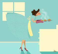 Making muffins Illustration by Rani Bean Fadeaway girl