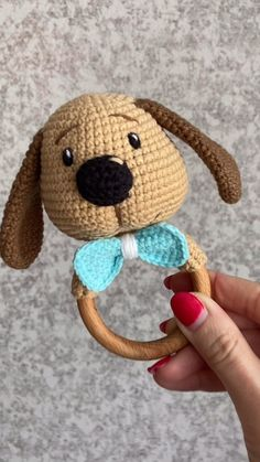 Baby Rattle Puppy / handmade Rattle / teething toy / gift for a newborn baby Crochet Baby Toys, Newborn Crochet, Crochet Patterns Amigurumi, Amigurumi Doll, Crochet Animals, Crochet Crafts, Crochet Projects, Crochet Doll Tutorial, Newborn Toys