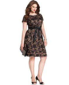 SL Fashions Plus Size Dress, Short-Sleeve Floral-Lace Sheath