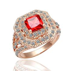 Image detail for Jewelry Rose Gold Zircon Ring,Red Diamond,Fashion Square Ring . Ruby Jewelry, Diamond Jewelry, Jewelry Rings, Fine Jewelry, Jewellery, Jewelry Box, Ruby Wedding Rings, Wedding Rings For Women, Wedding Jewelry