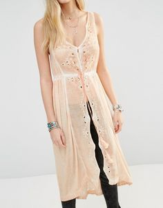 Image 3 of Free People Riptide Maxi Sleeveless Blouse with Cutwork Lace