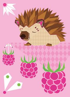 Folklore hedgehog postcard #berries #hedgehog #teresebast