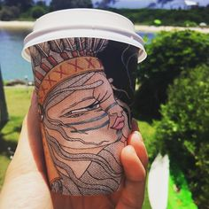 """""""I love these beautiful take away coffee cups ☕️ #biocupartseries #crescenthead"""""""
