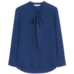 Gerard Darel Celeste Blouse, Blue (13.100 RUB) ❤ liked on Polyvore featuring tops, blouses, neck tie blouse, long sleeve silk blouse, blue blouse, silk blouse and silk tie blouse