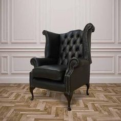 Our Winged High-Back Chesterfield Queen Anne Armchair with exposed hardwood leg detail. A very popular look in the Chesterfield style. Chesterfield Queen Anne Wing Chair Handmade In Black Leather. Leather Chesterfield Chair, Leather Footstool, Leather Sofas, Leather Chairs, Leather Recliner, Queen Anne Chair, Black Leather Chair, Brown Leather, Traditional Sofa