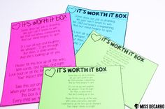 The It's Worth It Box! A keepsake gift for teachers and an original poem written by Miss DeCarbo - FREE!