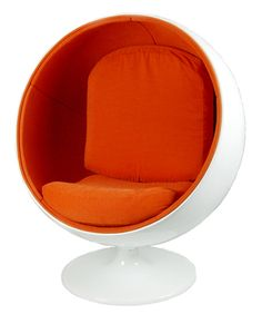 Retro Ball Chair (Orange)  Description:  1960-70's Just like the classic in heavy fiberglass shell. With retro orange upholstery.  Price:  $1,250.00