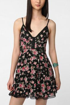 ShopStyle: Betsey Johnson Pink Label Floral Lace Tank Dress$79.99  URBAN OUFITTERS