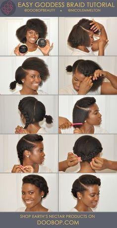 Easy short Natural Hair How-To: Goddess Braid with Earth's Nectar Hair Care.