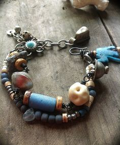 Tribal bead and kyanite bracelet with African charm by quisnam, $40.00