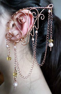 Elaborate Elven Ear Wrap in Copper Pearl & by alyssblackapparel, $55.00 At Alyss Black Apparel We Specialize in Custom Costuming for all occasions, like Labyrinth of Jareth, Burning Man, Myth, Anime Expo, Renaissance Pleasure Faires, and other events of that nature.